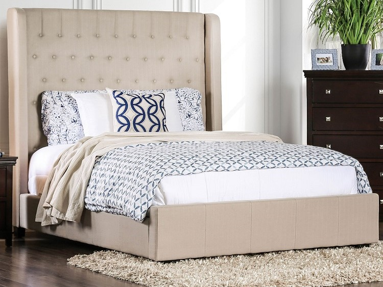 bed with tall headboard
